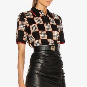 Burberry Intarsia Checkered Wool Polo